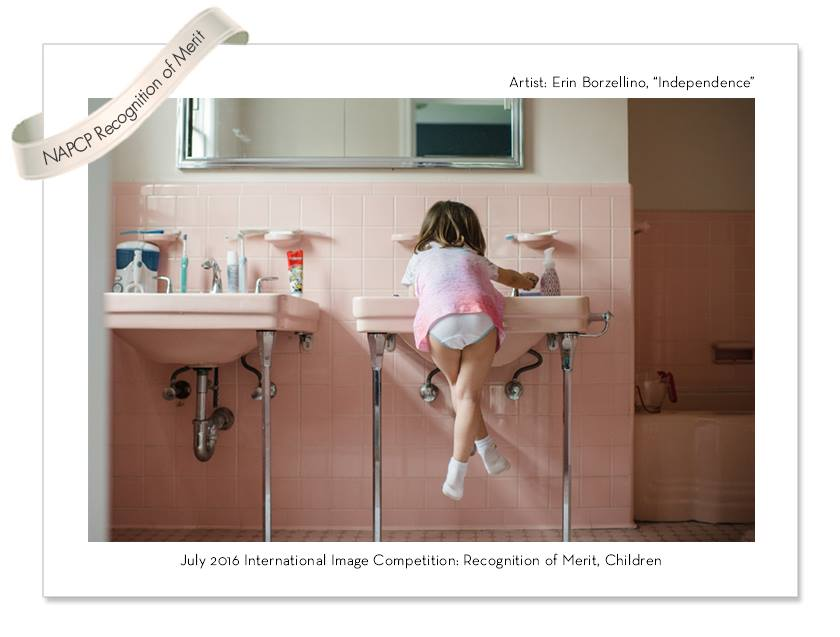 Award Winning photo of girl at bathroom sink by Erin Borzellino
