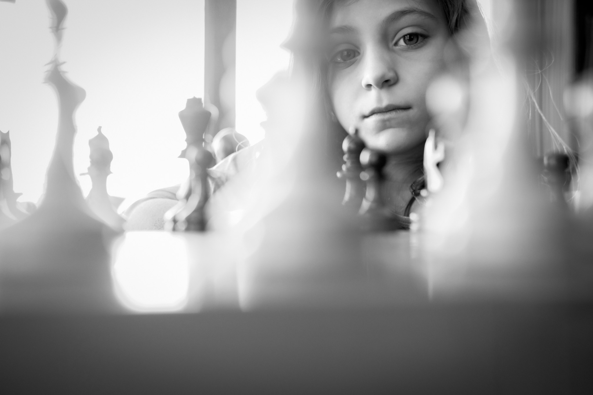 portrait of girl and chess board by Erin Borzellino