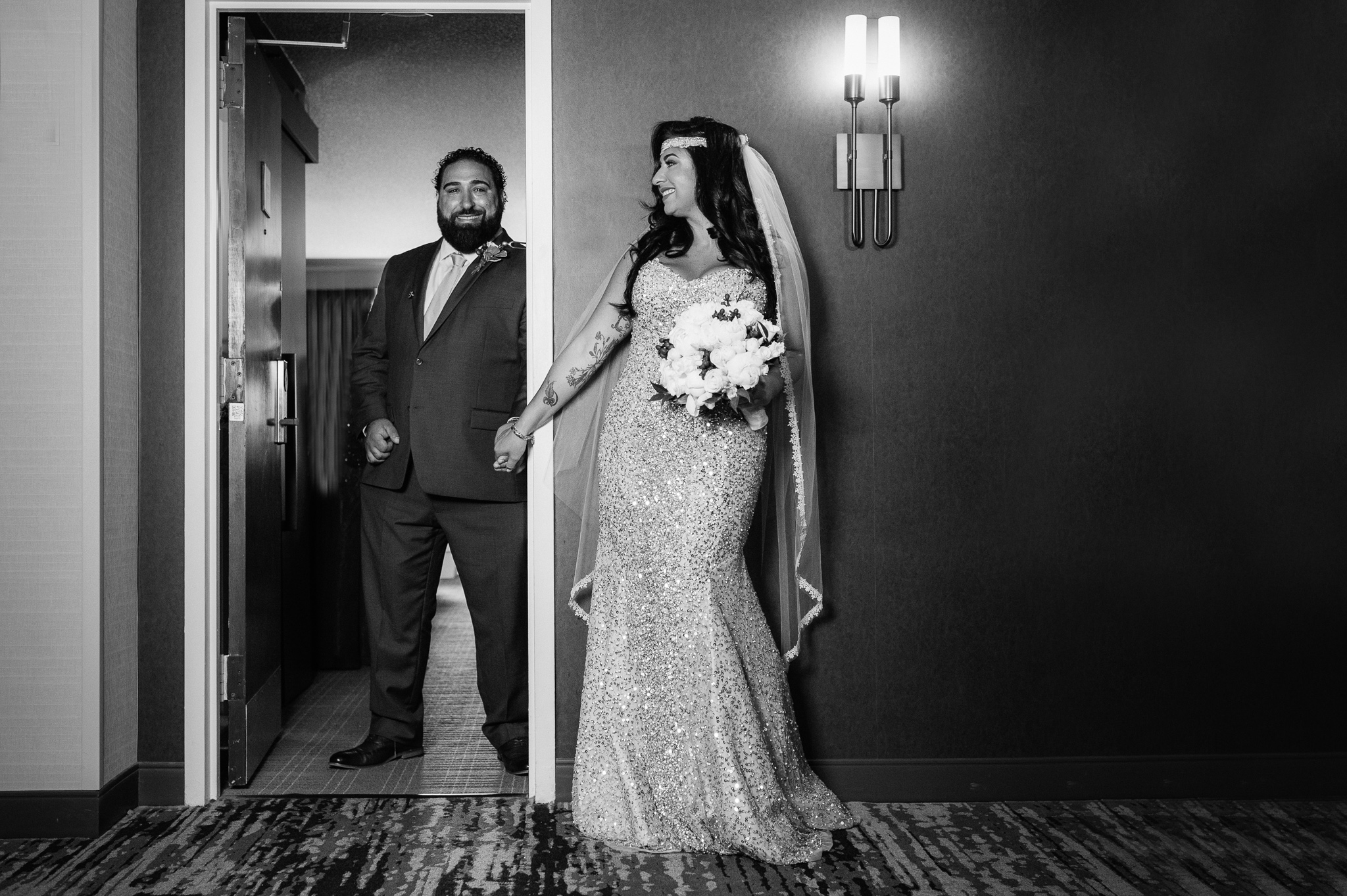 bride and groom before the wedding by Erin Borzellino in Tarrytown, NY